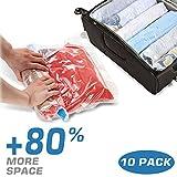 IMLEZON 10 tlg Set Vakuumbeutel Aufbewahrungsbeutel Kleiderbeutel Vakuum-Platzsparer verschiedene Größen für Betten und Kleidung, 50X70 /40x60/35X50 CM