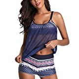 Yvelands Dame 1PC Badeanzug + 1PC Badehose + 1PC Bluse Tankini Sets Shorts Damen Bikini Set Bademode Push-Up Gepolsterter BH