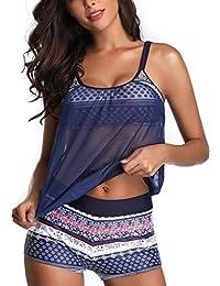 2f2025747a4c2 Tankini Swimsuit for Women Sexy Bikini Top with Boyshort Cover Up Hollow  Sling Crop Top Womens Blouson Tankini…