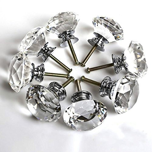 Dproptel 10 X 30MM Crystal Acrylic Glass Diamond Cut Door Knobs Kitchen Cabinet Drawer knobs with Screw for Home Decorating