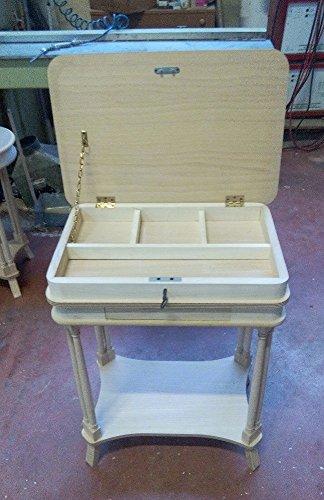 Table basse 1 tiroir rectangulaire plan relevable en bois massif avec marqueterie