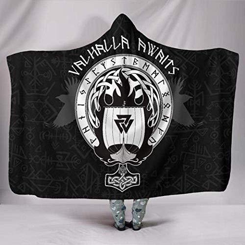 Manta capucha, diseño martillo vikingo Thors, manta