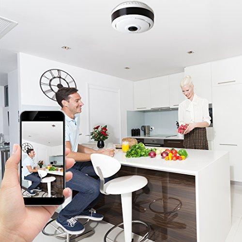 FREDI IP Sicherheit Kamera 960P Panorama Kamera 180°Wlan Videoüberwachung Dome Überwachungskamera IP Cam mit IR Nachtsicht /2 Weg Audio/Bewegungsmelder für Haus /Baby Überwachung - 3