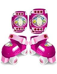Stamp jb131321rodillera y codera + patines de ruleta Mixta niños, rosa, talla 23–27