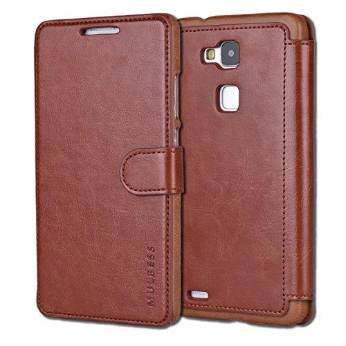 Mulbess Huawei Mate 7 hülle Kaffee Braun,Ledertasche für Huawei Ascend Mate 7 Tasche Leder