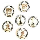 Lot de 6 boutons en céramique par fff - Meubles de cuisine Porte Placard, armoire, commode, meubles, poignées de tiroir en porcelaine - Paris - 1 - Vintage Shabby Chic