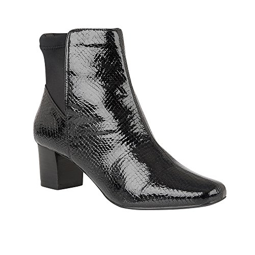 Lotus Swallow Black Shiny Snake Ankle Boots 5