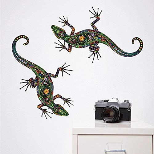 Wall Sticker ZOZOSO Colorido Lagarto Gecko Tiergemüse Pegatina Creativo Abstracto Arte Étnico Diseño Interior Pared Decal Extraéble Decoración Del Hogar