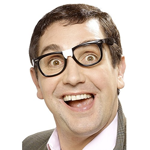 PARTY DISCOUNT Brille Nerd - Streber, schwarz mit Pflaster