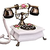 Power uk Teléfono de madera maciza Teléfono antiguo europeo Código retro Hogar fijo de la vendimia Hogar pintado a mano de la moda Jardín creativo (Color : Blanco)