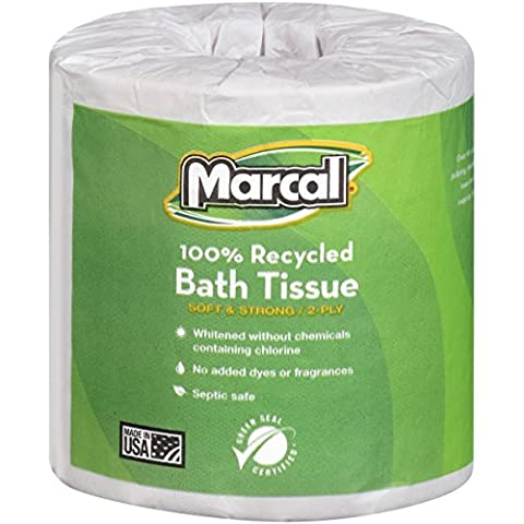 Marcal 4580 100% Recycled Two-Ply Bath Tissue, White, 504 Sheets Per Roll (Case of 80 rolls)