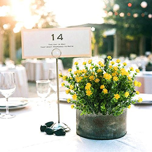 Nahuaa Künstliche Blumen 4 Stück Gefälschte Pflanzen Faux Eukalyptus Sträucher mit Gelben Büsche Bündel überdacht Draußen Tisch Mittelstücke Arrangements Dekor Home Küche