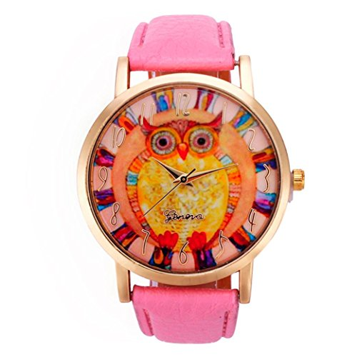 Vovotrade mujeres populares lindo búho animal patrón de banda de cuero analógico reloj de cuarzo (Rosa)