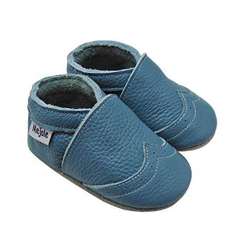Mejale Weiche Sohle Leder Babyschuhe Lauflernschuhe Krabbelschuhe Kleinkind Kinderschuhe Hausschuhe Hellblau