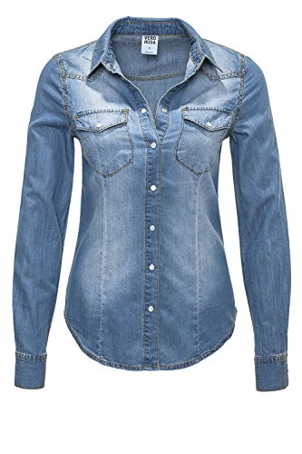 Vero Moda Damen Jeansbluse Langarmbluse Denim Used-Look (XL, Hellblau/Denim)