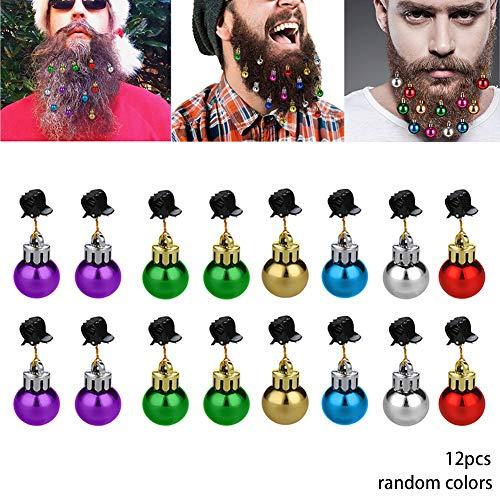 TOPFAY 12st Box/Weihnachtsdekorationen Schnurrbart Gesichtshaare für Männer sind einfach Gadgets Sankt installierten Claus Bart Clip Mini-Clips von Bell Whisker Ferienabendkleid