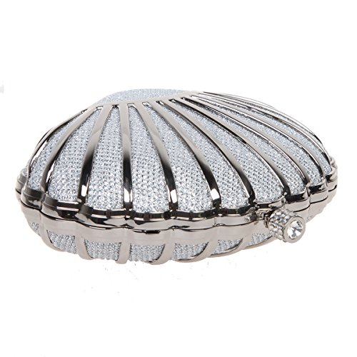 Bonjanvye Mini Lovely Seashell Purses for Girls Clutch Handbags for Wedding Evening Party Champagne Silver