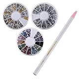 Almondcy Professional Manicure Nail Art Decorations Rhinestone Wheel Set, Mixed Sliver Crystal Gemstones, Diy Size 3D Glitter Rhinestones Charm, Gold And Silver 3D Metal Studs