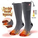 CAVEEN Beheizte Socken für Damen und Herren, Beheizbare Socken mit Akku Baumwolle Heizsocken Beidseitige Beheizung 3 Gänge Fußwärmer Erwärmbare Socken für Zuhause Outdoor Sports(M)