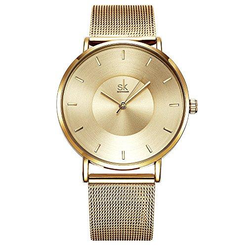 Damen Milanaise-Armband Armbanduhr Einfache Uhren Analoge Mesh Uhren für Frauen Edelstahl Band Uhr (K059 Gold)