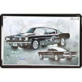 Cartel de chapa Ford Mustang Negro 196520x 30cm Diseño Retro metal Sign xvier20