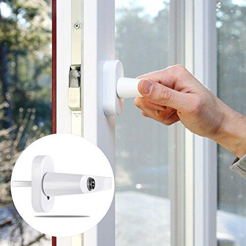 FIXKIT 8 Stück Fenstergriff mit 16 gleichen Schlüsseln abschließbar und kindersicher (weiß)