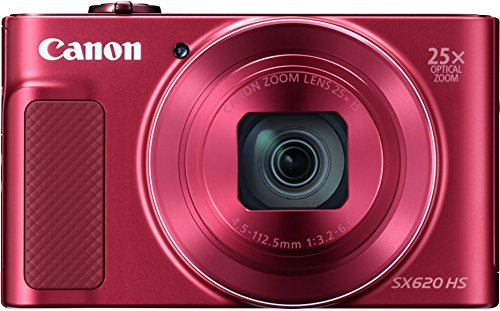 Canon PowerShot SX620 HS - Cámara Digital compacta de 20,2 MP (Pantalla de 3', Zoom óptico 25x, WiFi, NFC, Video Full HD), Rojo