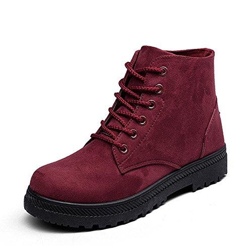 CUSTOME Femme Hiver Suede Flat Boots Chaudes Fourrure Bottes De Neige Chaussures Cheville Courte Chaleur Confortable