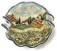 CERAMICHE D'ARTE PARRINI- Ceramica italiana artistica, bolo decorazione paesaggio girasoli, dipinto a mano