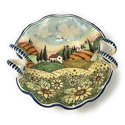 CERAMICHE D'ARTE PARRINI- Ceramica italiana artistica, bolo decorazione paesaggio girasoli, dipinto a mano, made in ITALY Toscana