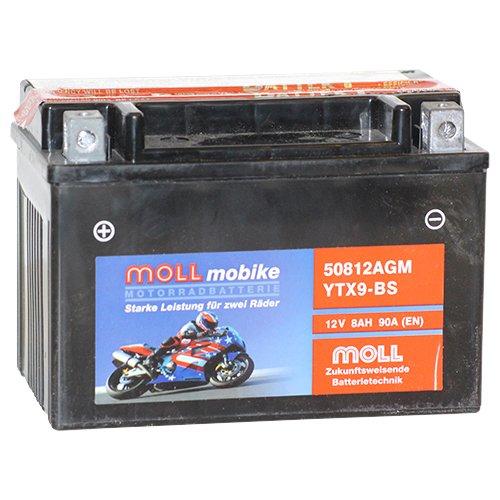 Moll mobike AGM Motorradbatterie YTX9-BS 8Ah 12V 120A - 50812