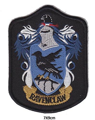 Harry Potter Ravenclaw BB Crest Logo Symbol Schwarz Blau | Stickerei Hohe Qualität Eisen auf Sew auf Patch Abzeichen für Kleidung Jacken T-Shirts Mäntel Taschen Hüte Geldbeutel (Eisen Einheitliche)