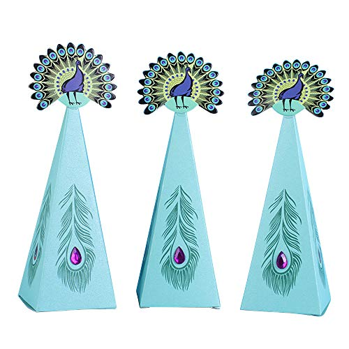 Lamf 40 Stück Meerjungfrau-Geschenkboxen, kreatives Meerjungfrauen-Geschenk, Süßigkeiten-Boxen für Hochzeit, Geburtstag, Babyparty, Motto-Party, Dekoration 40pcs pfau