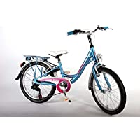 Bici bicicletta bambina bimba alluminio 20 pollici con cavalletto e freni Alloy V cambio Shimano 6 velocità da 6 7 8 anni blu