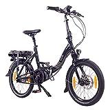 """NCM Paris MAX N8R E-Bike, E-Faltrad, 250W, 36V 14Ah 504Wh Akku, 20"""" Zoll (Schwarz mit Rollenbremse (N8R))"""