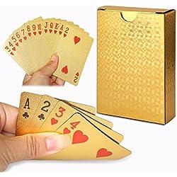 Cisixin 24K hoja de oro Poker Naipes Cubierta Carta de con Idea Box buen regalo, Poker Naipes Tabla Juegos Regalo