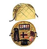 Gold Make-up Tasche, Reise, Toilettenartikel Tasche, Organizer, spritzwassergeschützt, große Kosmetiktasche Tasche, Schmuck, Bad Ablage mit Innentasche mit Reißverschluss & Kordeln, Bürste, Kamm, Haarschmuck Halter Carry On Reisetasche