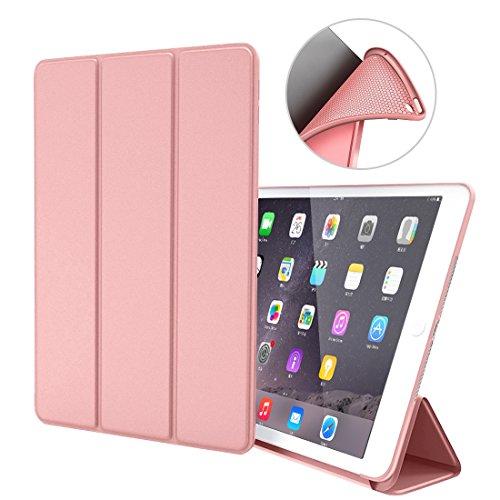 iPad Air 1 Hülle,GOOJODOQ iPad Air 1 PU Leder Etui Hülle Tasche mit Ständer Funktion und Eingebautem Magnet für Einschlaf/Aufwach Shockproof Silikon Weicher TPU Folio Hülle für Apple iPad Air 1(rose gold) (Tasche Magnete)