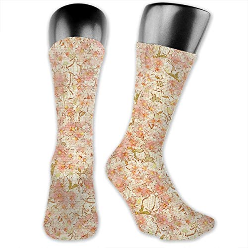 Kostüm Party Cat Crazy Lady - MZZhuBao Blossoms-peach Blush Men's & Womens Athletic Crew Socks Running Gym Compression Foot