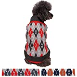 Blueberry Pet Chic Argyle All Over Dog Jumper in Charcoal and Scarlet Red, Back Length 12