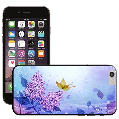 Flower Power Coque arrière rigide détachable pour Apple iPhone modèles, plastique, Purple Flower Elegant Pattern, iPhone 5C Purple Flower With Butterfly