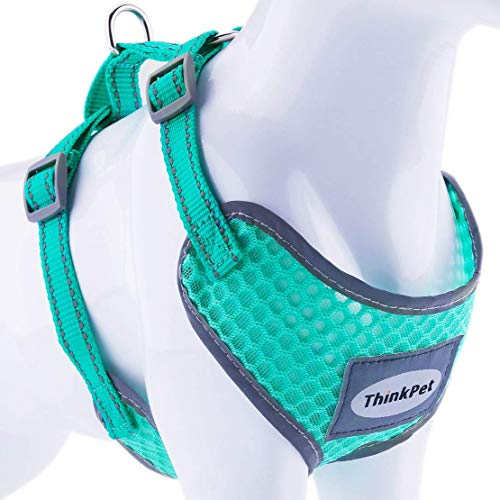 ThinkPet Comfortable Dog Harness, Soft Air Mesh No Pull Vest Harness Breathable Adjustable Reflective for Small Medium Large Dogs Puppies, Lightweight, XL