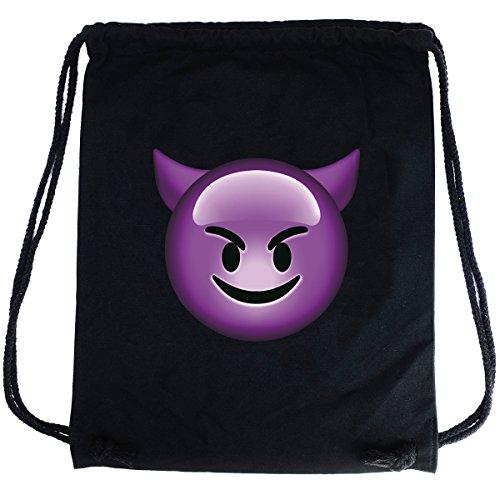 ort-Beutel Baumwolle Bedruckt mit Spruch Motiv Emoji Teufel Hipster Gym Bag Festival Rucksack Stoff Ideales Geschenk Schwarz ()