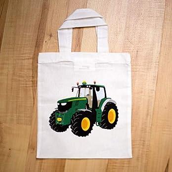 Tragetasche (klein) mit grünem Traktor – Stoffbeutel – Einkaufstasche – Kindertasche – Jungsgeschenk – Beutelchen – Einkaufsbeutel (weitere Motive des Shops: Einhorn, Feuerwehrauto)