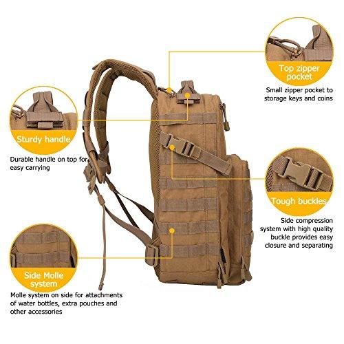 Oleader 30L Taktischer Rucksack Militär Molle 3 Tage Angriffspackung Sturm-Rucksack für Wandern Schießen Camping Trekking Jagd im Freien Khaki