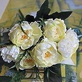 ticc Shabby Chic Bouquet Européen Jolie Mariée Mariage Petites Fleurs De Soie Pivoine Pas Cher Mini Faux Fleurs pour La Décoration Intérieure, Blanc