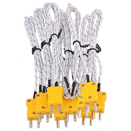 CNBTR Set von 10 Thermoelement-Sonden mit K-Typ Mini-Stecker, Metall, 1m -
