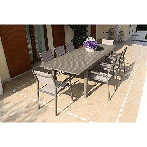 Tavolo Rettangolare Allungabile in Alluminio Taupe 150/210 X 90 da Esterno Giardino, per Ristorante Agriturismo Albergo Hotel
