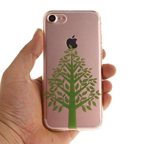 Pour iPhone 7G / 7 Coque,Ecoway Housse étui Flexible protection en TPU Silicone Shell Housse Coque étui creux Slim Case Cover Cuir Etui Housse de Protection Coque Étui iPhone 7G / 7 –magnolia Les arbres verts