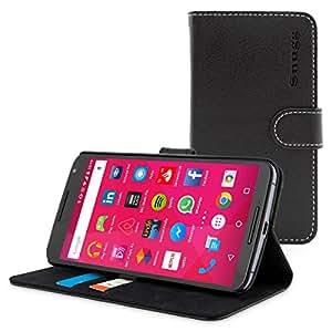 Custodia per Nexus 6, Snugg™ - Custodia Nera a Libretto in Ecopelle con Garanzia a Vita per Nexus 6